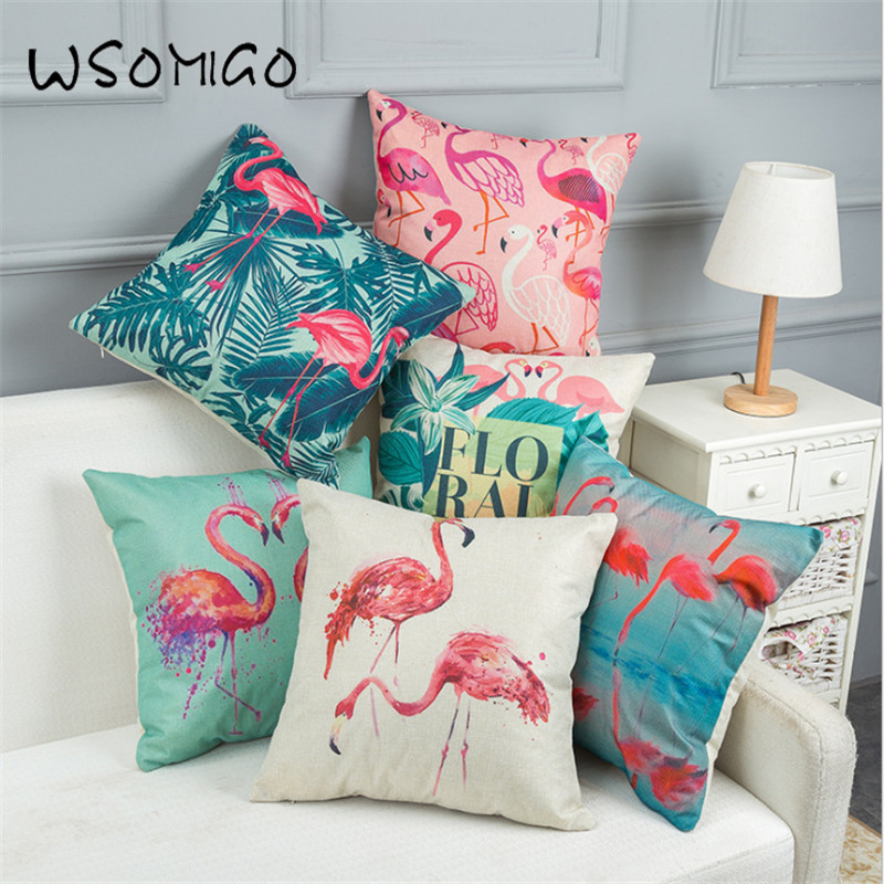 New 1pcs 45*45cm 5 Style Flamingo Linen Cushion Cover Decorations for HomeDIY Party Decor Gift Festival Wedding Decoration-B