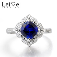 Leige Jewelry Sapphire Wedding Ring Cushion Cut Blue Gems September Birthstone Ring Solid 925 Sterling Silver Gifts Fine Jewelry