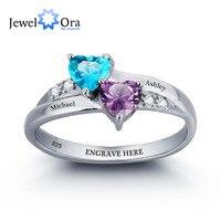925 טבעות אירוסין כסף לחרוט אבן המזל שם לב הבטחת טבעת יום נישואים מתנת יום הולדת (JewelOra RI101781)