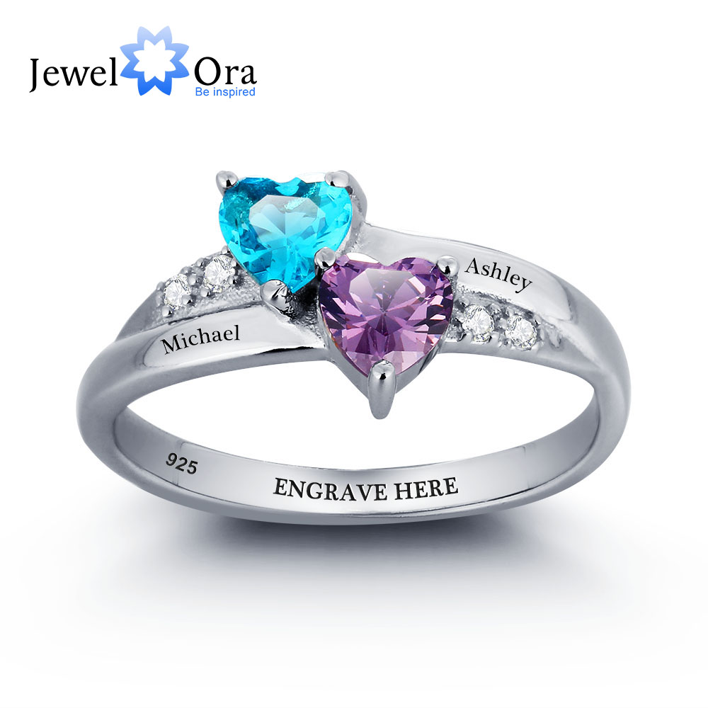 925 Sterling Silver Engagement Rings Birthstone Ring Engrave Name DIY Love Heart Rings Free Gift Box
