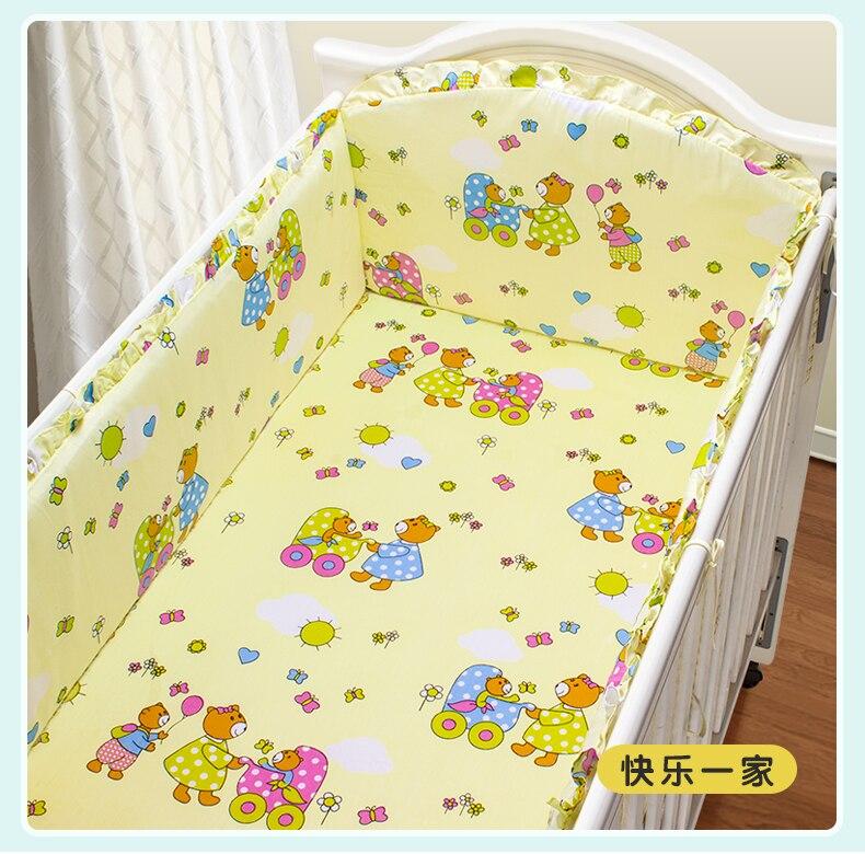 Promotion! 5PCS Yellow Baby Bedding Set 100% Cotton,High Quality Cheap Baby Crib Set Sale(4bumper+sheet)