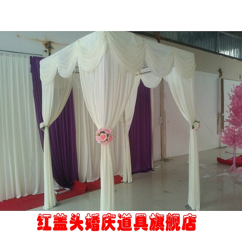 Online Shop Luxurious Wedding Decorations Ivory White Square Canopy Chuppah Arbor Drape With Swag Fabric Decoration