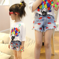 Summer New Pattern Korean Girl Vermilion Border Cowboy Children's Garment Flash Shorts Tight Kids Shorts