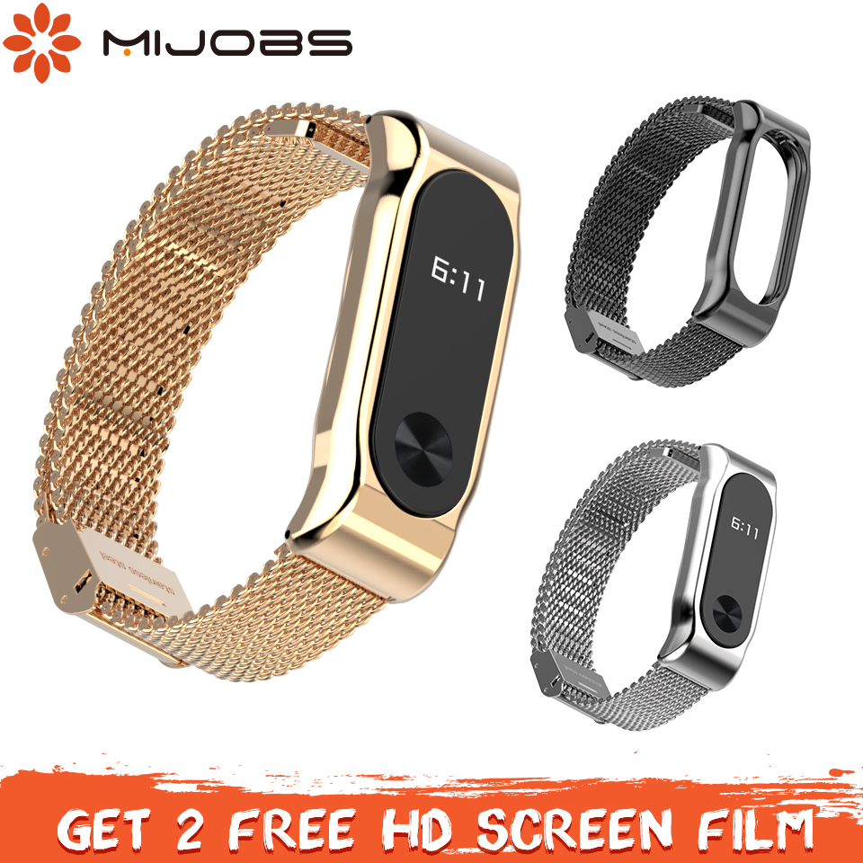 Mijobs Mi Band 2 Strap Metal Wriststrap Stainless Steel Bracelet For Xiaomi Mi Band 2 Smart Accessories Wristband Miband 2 Strap