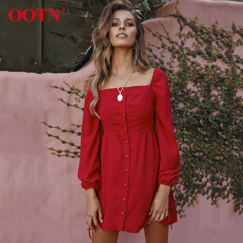 2340a89c265 Detail Feedback Questions about OOTN Bow Tie Long Sleeve Autumn Red Dress  Sexy Square Collar High Waist Black Mini Women Dresses Back Elastic Ruched  Button ...