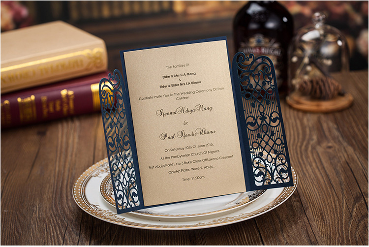 Elegant Dark Blue Wedding Invitation Cards 2015 Laser Cut – Cheap Engagement Party Invites
