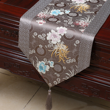 Brand New Noble Classic Mixed Colour ChineseTable Runner flower Bed Flag Wedding Decor nature beauty gray  Luxuary shiny deco