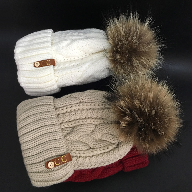 2017 Skullies Beanies Plus velvet Winter Hat For Women Warm Hat Fashion Brand Knitting Warm Cap 18cm fur pompom Leisure Hat Cap skullies