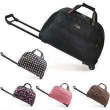 מזוודות תיק נסיעות דובון תיק עגלה מתגלגל עגלת מזוודת נשים גברים נסיעות שקיות עם גלגל לשאת על תיק