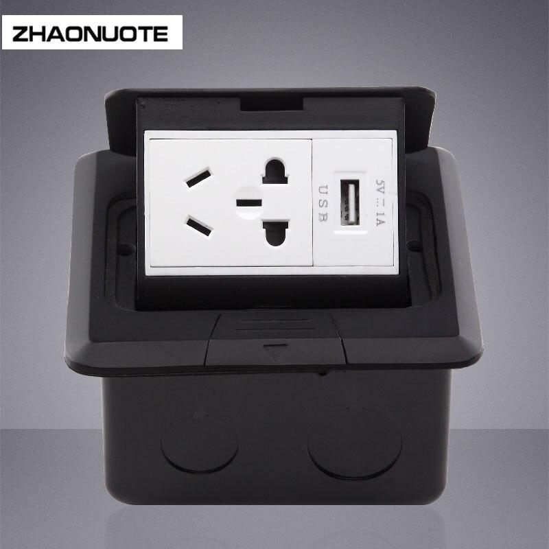 2 pièces Noir 5 trous Plancher avec Prise USB 1A Lent Pop-up 2-3 Prise de Terre D'étanchéité Rénovation Prise Électrique