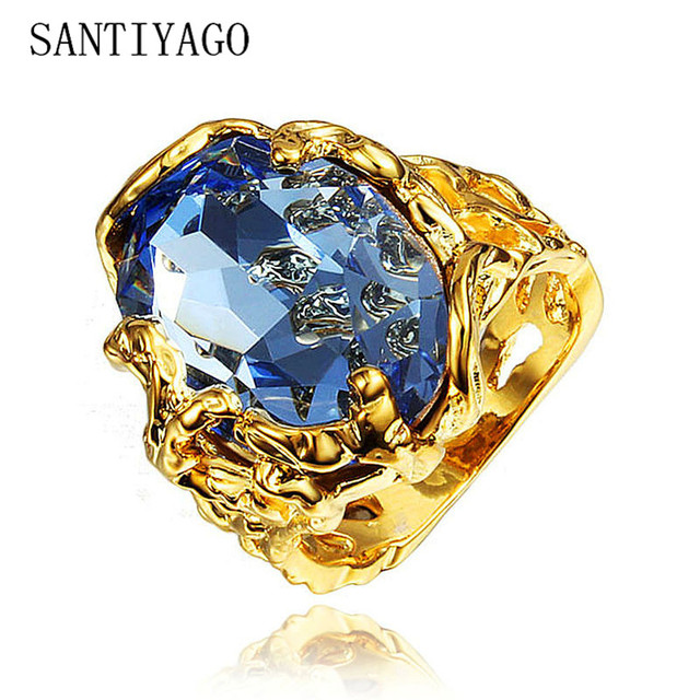 New Luxury Rings For Women Big Natural Stone Statement Noble Gold Color Men Rings Round Blue Man Ladies Elegant Ring