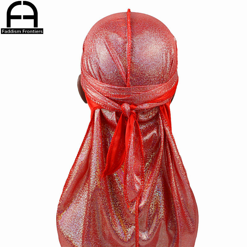 Glitter Laser Durag Turban Cap Extra Long-Tail and Wide Straps Bandana Hat Hat