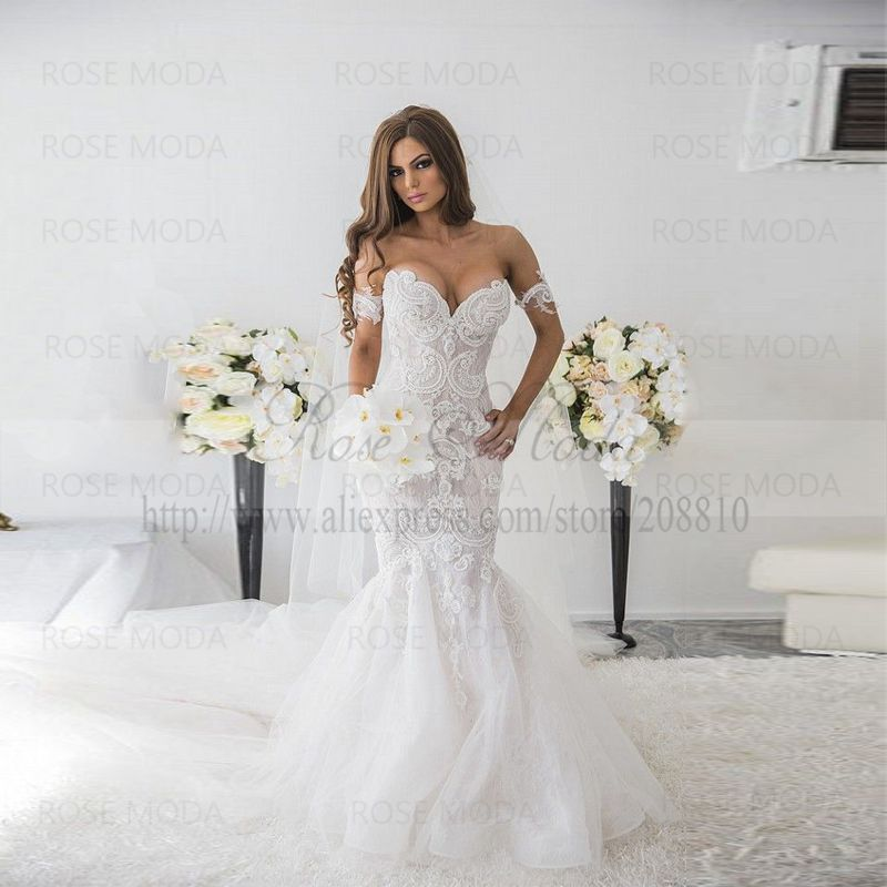 Sexy Deep Sweetheart Pearl Beaded Lace Mermaid Wedding Dress with ...