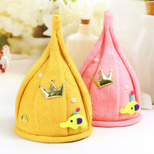 Lovely Kids Funny Windmill Cap Knitted Pointy Steeple Shape Beanies Hat Warm Winter Boy Girl Twisted Flower Crochet Hat(China)