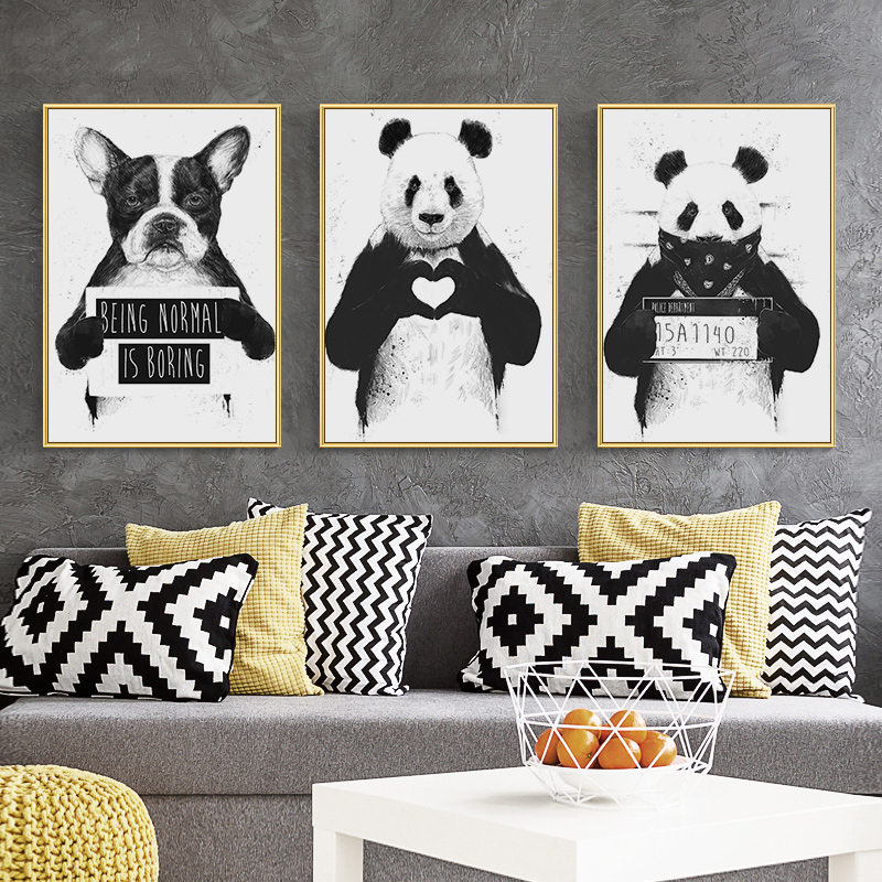 Canvas Painting Art-Poster Dog-Picture Wall Panda Animal Home-Decor Nordic Black Living-Room