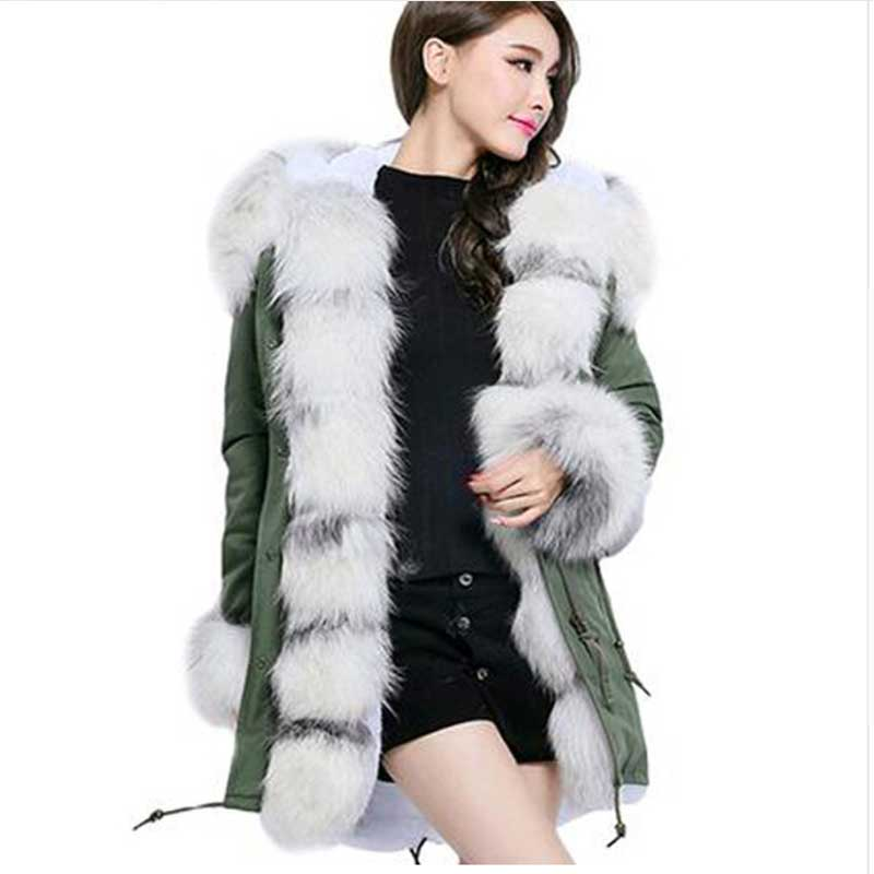 New 2017 Women's Fashion Oversize Real Fox Fur Sleeve Collar Thick Long Camouflage Winter Jacket Coat Ladies Warm Parkas Outwear 2017 winter new clothes to overcome the coat of women in the long reed rabbit hair fur fur coat fox raccoon fur collar