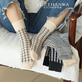 Japanese style plaid socks fashion casual Harajuku compression women sock autumn winter neutral wind street trend cotton calzini