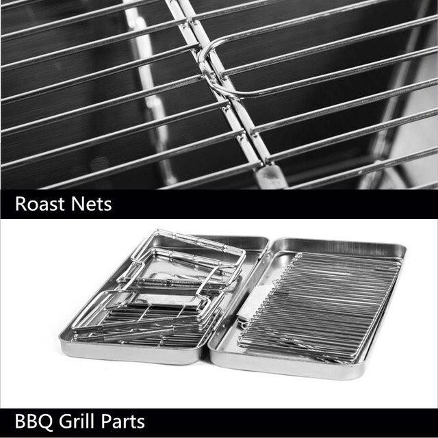 Étagère pliante en acier inoxydable | Charbon de bois dextérieur Barbecue, accessoires de Barbecue Portable, cuisine domestique, outils de cuisine Camping