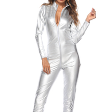 Sexy Women Latex Bodysuit Erotic Patent Leather PVC Zipper Nightclub Pole Dance Performance Clothing clubwear M-4XL
