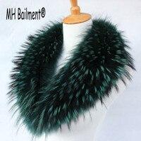 Cuello de Piel de Mapache verdadero Invierno Calidez Cuello de Piel para Las Mujeres abrigo de Piel de cuello de piel Genuina Mapache Verdadero Grande Mantón de La Bufanda C #32