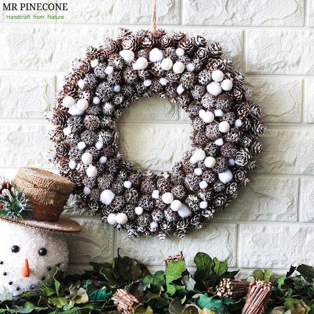 Snow Noel Wreath Natale Frozen Christmas Decorations Navidad Home Decor  Wreaths Handcraft Door Wreath Wedding Party Decoration