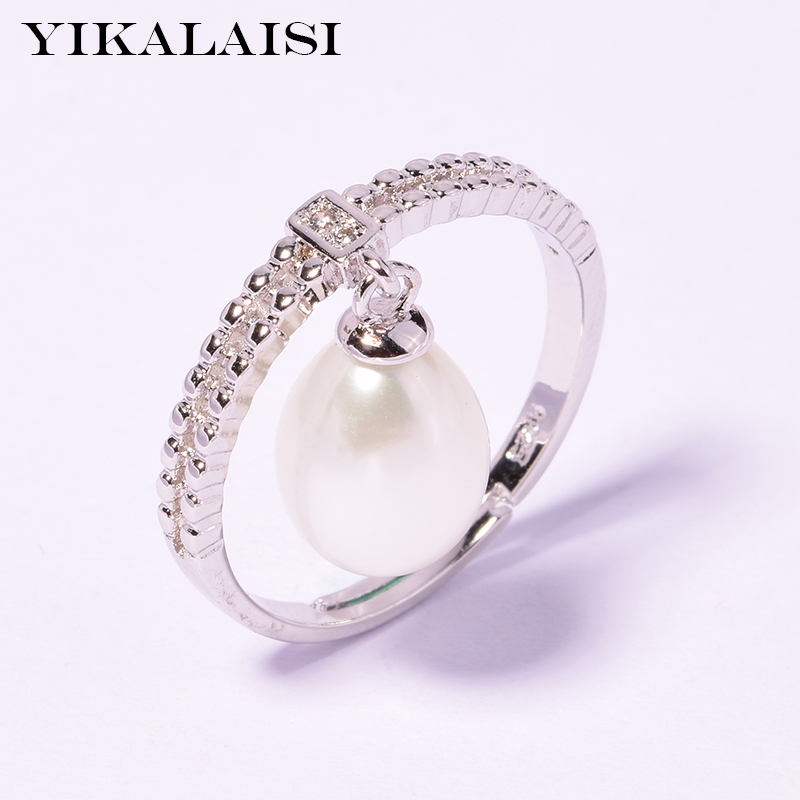 YIKALAISI 925 Sterling Silver Jewelry For Women 2019 Fine Jewelry 100% Natural Freshwater Pearl Jewelry Ring Wedding 8-9mm Gift
