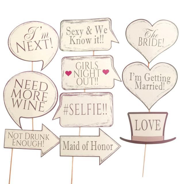 Wedding Photo Booth Props Set