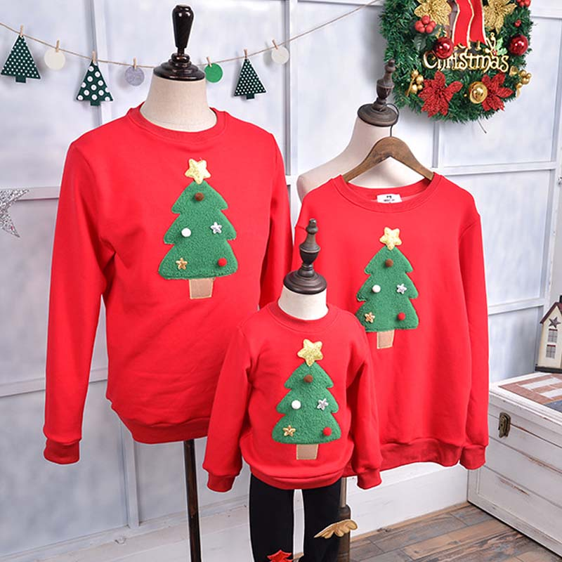 12e77d78e family matching outfits christmas tree long sleeves thick t shirt family  matching clothes for babykidsmotherfather casual