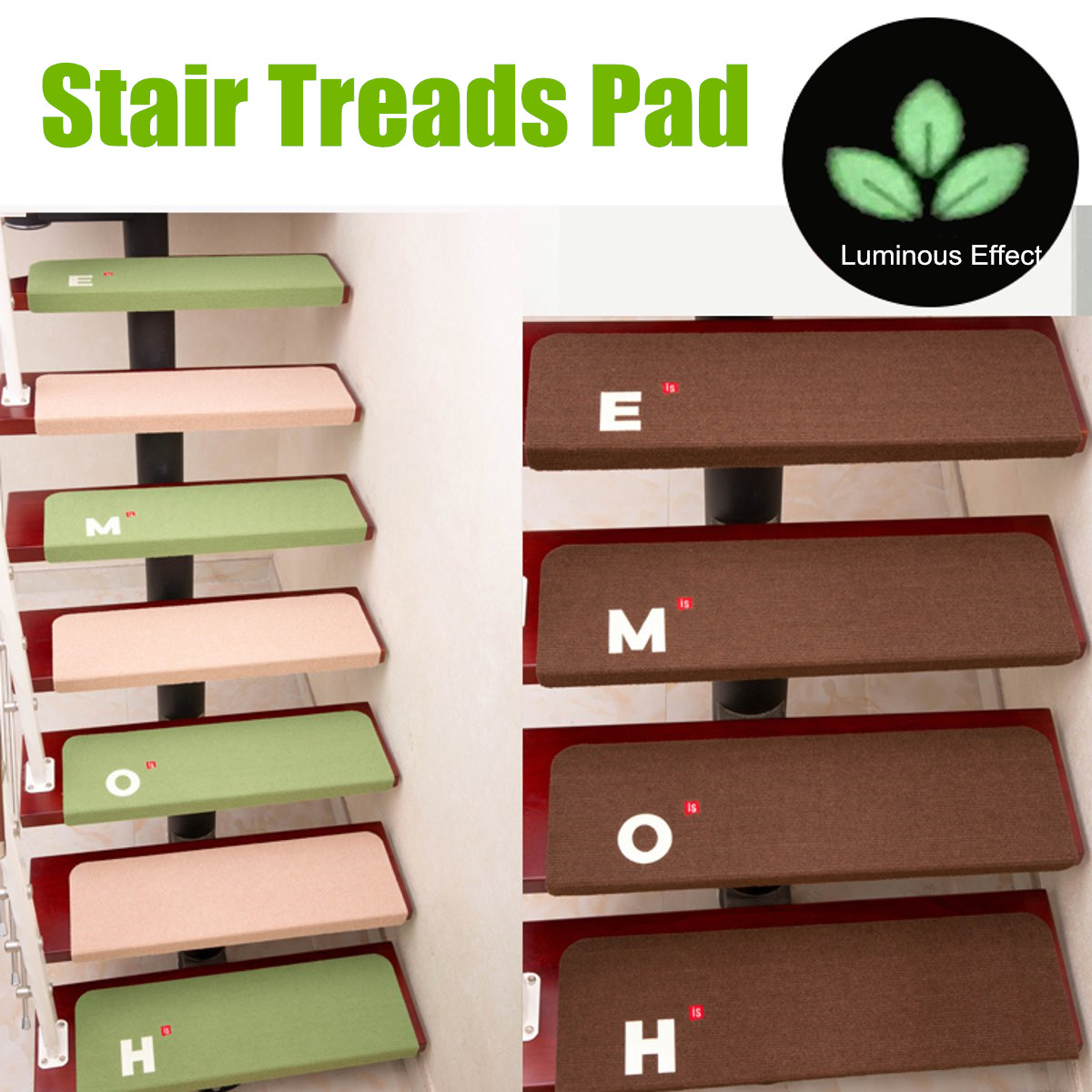 Non-Slip 5PCS/Set Staircase Pads Step Mats Stair Carpet Treads Anti-Scratch Wipe Staircase Area Rugs Home Textile Luminous