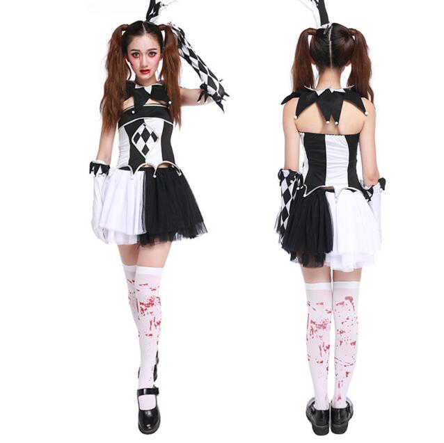 Харли Квинн костюм призрака для женщин Хэллоуин canival COS scarey Косплэй Fantasia Infantil Анастасия упругой платье