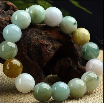 100% A Grade Natural Burma Colourful /Jadeite Smooth 12mm Beads String Bracelet