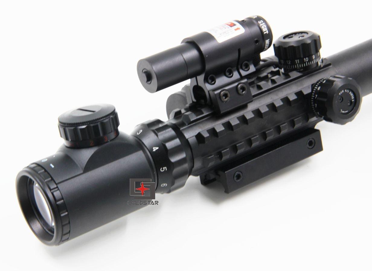 New rifle air guns 3-9x40EG Rifle Scope w/ Laser & 1x24 Illuminated T-1 Red Green Dot Scope mira telescopica ship from us new 3 9x40 illuminated rifles scope with red laser