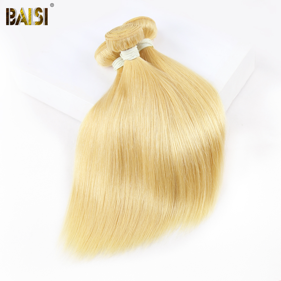 BAISI Hair Brazilian Straight 613 Blonde Colored Remy Hair Weave 100 Human Hair Extensions