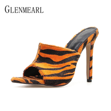 купить Women Slippers Sexy Mules Shoes High Heels Leopard Summer Shoes Woman Peep Toe Party Shoes Slides Outdoor Female Sandals 2019 DE по цене 1318.6 рублей