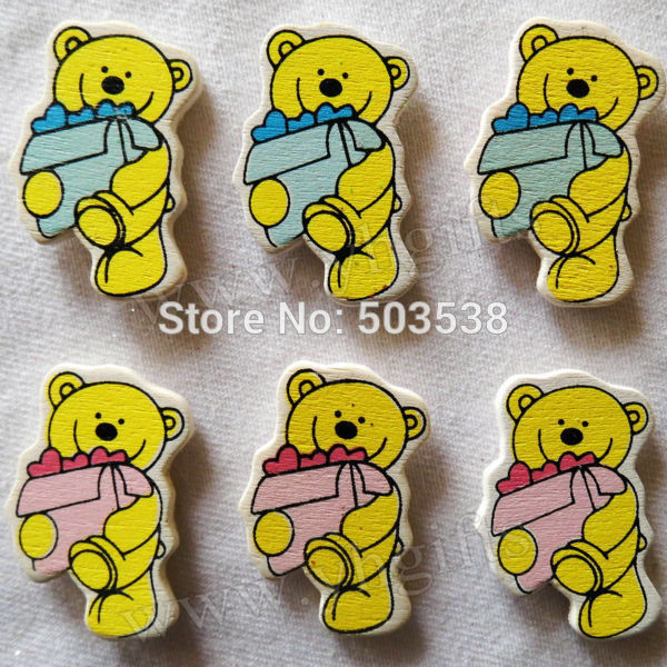 200PCS/LOT,Bear hold gift wood stickers,Kids toys,scrapbooking kit,Early educational DIY.Kindergarten craft.Classic toys.2x3.4cm