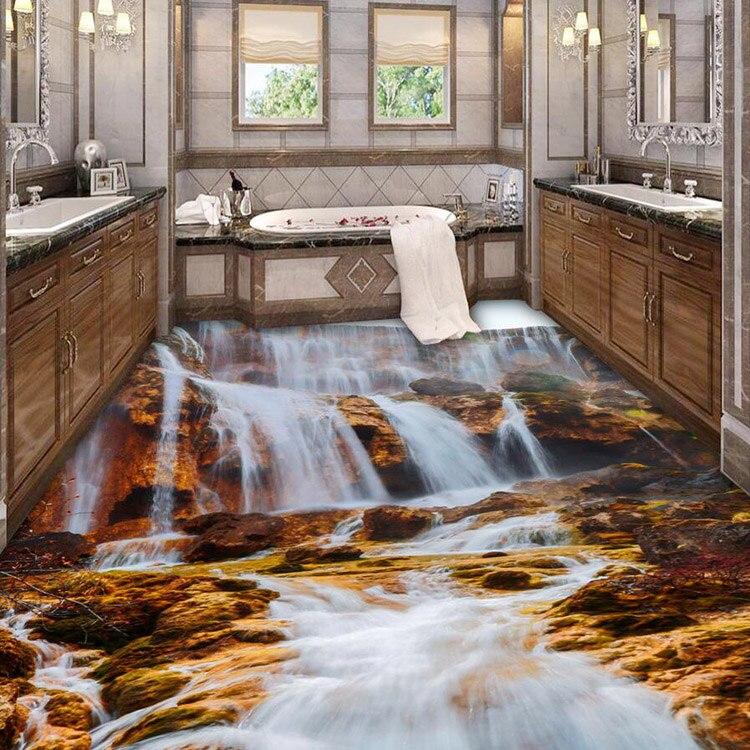 Kitchen Floor Wallpaper 3D Nature Waterfall Stereoscopic