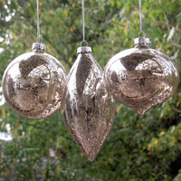 Free Shipping 4pcs/packSilver Plated Craft Christmas Glass Globe Christmas Day Decorative Pendant Hanging Globe Olive Ornaments