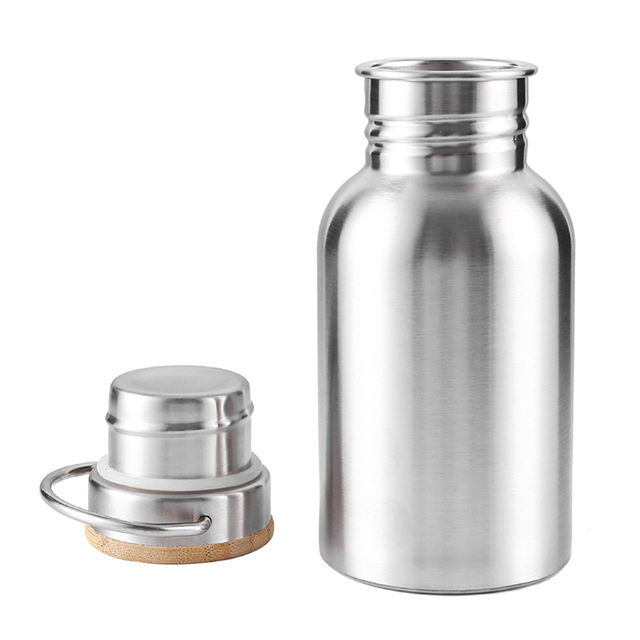 Leak-Proof Stainless Steel Water Bottle with Bamboo Lid