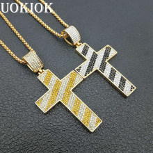 Hip Hop Iced Out Big Cross Pendant Necklace For Men Gold Color Stainless Steel Religious Jewelry Male Gift XL1309U(China)
