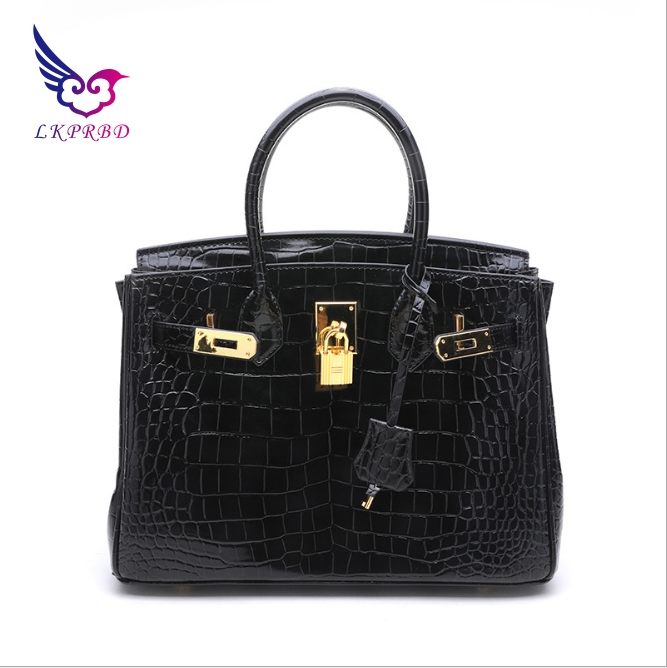European and American fashion handbags leather crocodile embossed leather handbag platinum package bulk Shoulder Messenger bag
