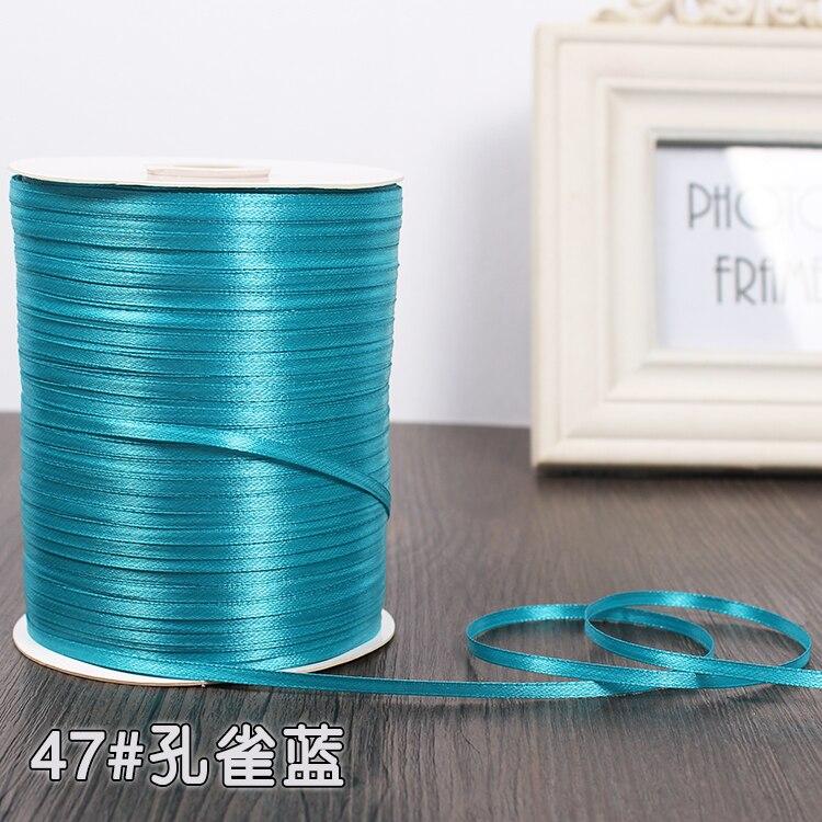 3 мм атласная лента 22 м/лот DIY ручной работы, товары для рукоделия, свадебные, для дня рождения, подарочная упаковка, белые, розовые, бежевые, кремовые ленты - Цвет: Peacock Blue