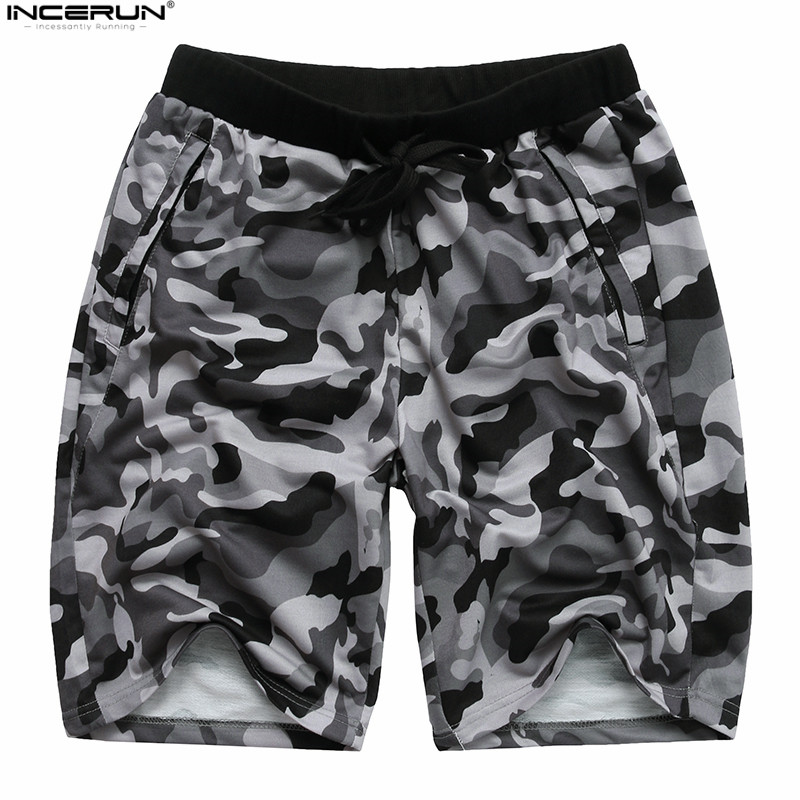 INCERUN Camouflage Mens Shorts Casual Summer Shorts Military Gyms Short Pants Herren Hose Hip Hop Shorts Men Fashion Outwear