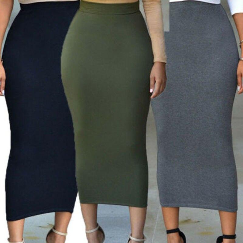 Fashion New Women Lady High Waist Bodycon Straight Stretch Pencil Midi Skirt Women´s Long Maxi Slim Skirts