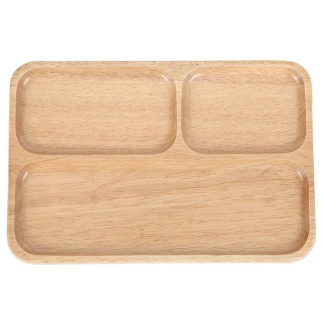 3 Grid Wooden Tray Dinner Plate Food Dessert Rectangle Kids Tableware Japanese-style Plate Home  sc 1 st  AliExpress.com & 3 Grid Wooden Tray Dinner Plate Food Dessert Rectangle Kids ...