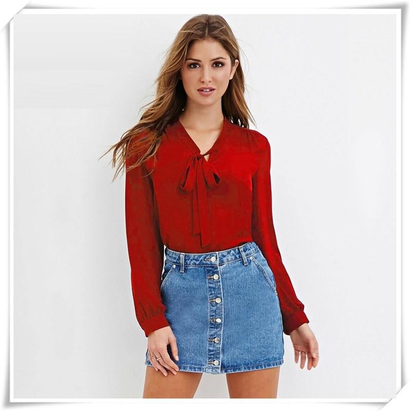 Plus Size S-6XL 2017 Spring Autumn Women Long Sleeved Bow Tie V Neck Tops Fashion OL Chiffon Blouse Burgundy White  Shirts