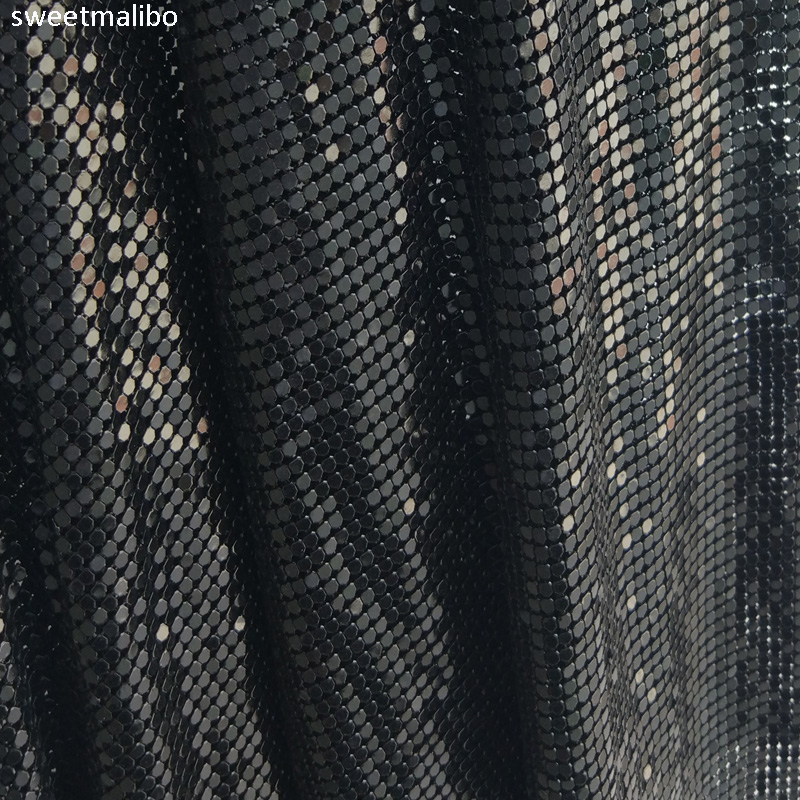 45 150cm High quality Black metallic metal mesh sequin fabric for curtains sexy women evening dress