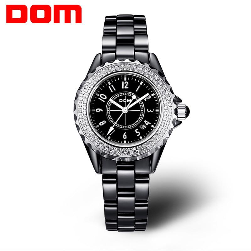 DOM luxury brand wristwatches waterproof fashion ladies watches quartz ceramic white women calendar luminous diamond clocks kimio famons brand women watches fashion diamond wristwatches lady dress wristwatches quartz women s bracelet watches clocks
