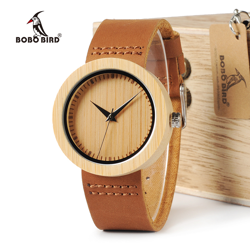 BOBO BIRD WA08 Brand Design Luxury Bamboo Women Watches With Real Leather Band Quartz Watch in Gift Box Reloj mujer Accept OEM bobo bird v o29 top brand luxury women unique watch bamboo wooden fashion quartz watches
