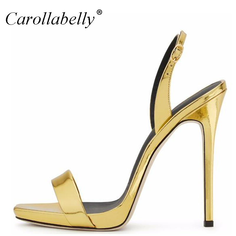 2017 High Heels Sandals Women  Ankle Strap Summer Dress Shoes Woman Open Toe Sandals Gold Women Shoes Big Size 34-45 sgesvier fashion women sandals open toe all match sandals women summer casual buckle strap wedges heels shoes size 34 43 lp009