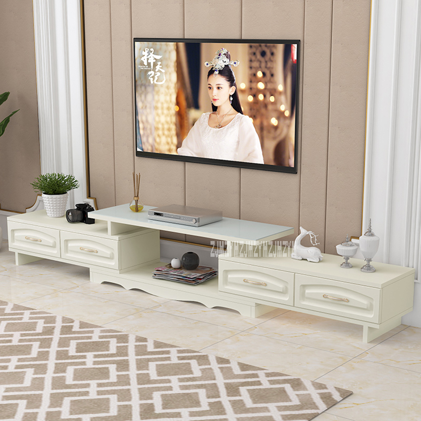DSG188 Modern Environmentally Friendly Solid Wood TV Cabinet Living Room Scalable TV Stand Bedroom Toughened Glass TV BenchDSG188 Modern Environmentally Friendly Solid Wood TV Cabinet Living Room Scalable TV Stand Bedroom Toughened Glass TV Bench